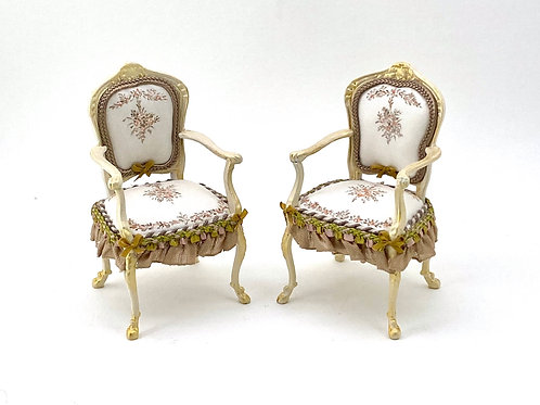 Two chairs handpainted on silk.French inspiration 18th century.