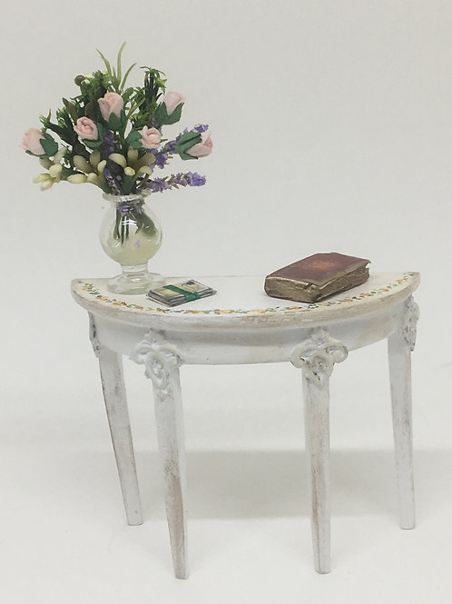 Semi-circular side table vintage style handpainted in white . Scale 1.12