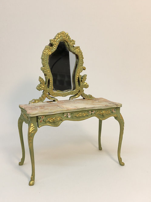 Hand painted dressing table in green tones with hand painted top imitating Itali
