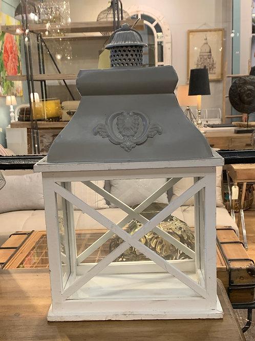 Portavela de madera blanco con top en gris