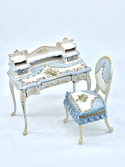 Hand painted desk in blue tones with flower and gold detail