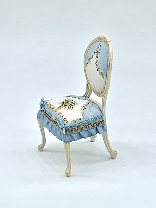Hand painted chair in blue tones with flower and gold detail