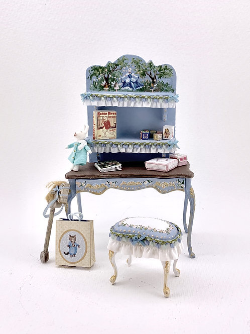 Desk with shelf for children's room, hand painted in shades of blue and pink.Sol