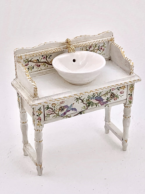 Hand painted furniture with ceramic spike in white and flowera and birds.