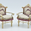 Thumbnail: 2 single miniature sofas - hand painted and upholstered