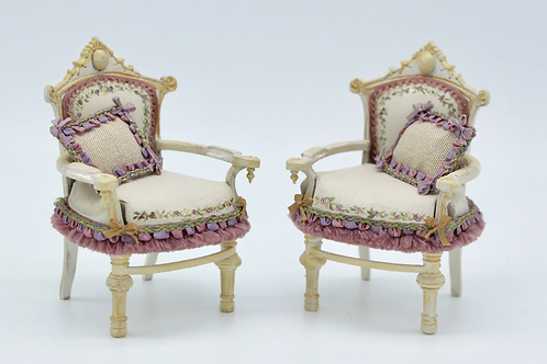 2 single miniature sofas - hand painted and upholstered