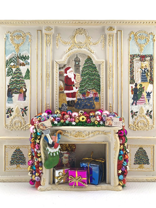 Hand painted fireplace. It is sold as seen in the photo with all the ornaments.