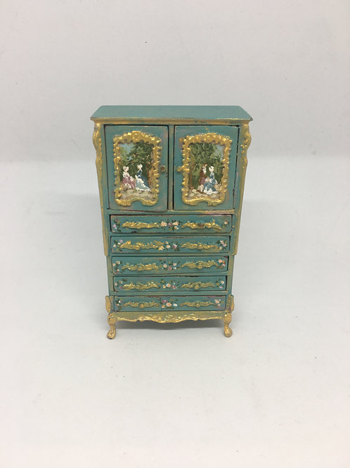 Auxiliary furniture hand painted in turquoise tones . Louis XV style. Scale 1.12