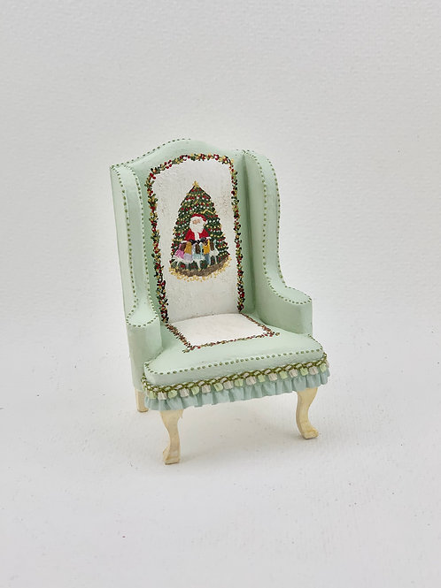 Christmas hand painted sofa in soft green tones
