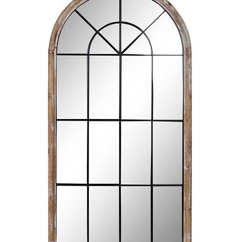 Espejo ventana metal negro y madera decapada