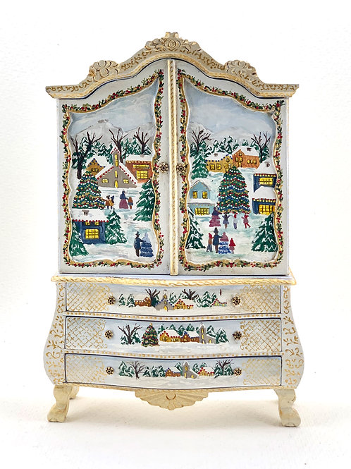 Hand painted wardrobe in blue tones with Christmas motifs, it is painted on the
