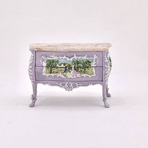 Commode with drawers hand painted in soft lilac . scale 1.12