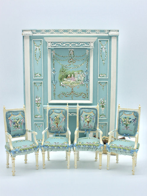 One chair hand painted in blue versalles style. Scale 1.12