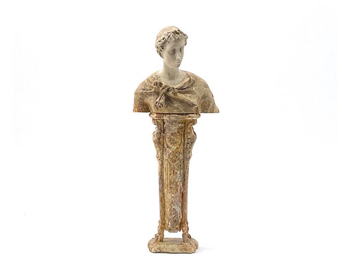 Bust and pedestal hand painted imitating marble.1