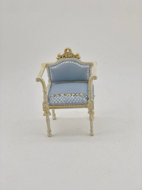 child chair hand painted in soft blue tones