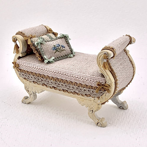chaise longe hand painted and upholstered in linen with silk trimmings.