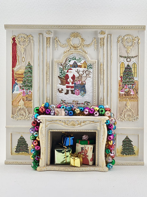 Hand painted fireplace with Christmas motifs, sold as seen in the photo with all