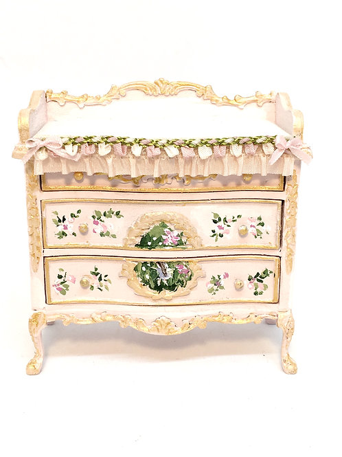 Dollhouse miniature, changing room for baby room, in baby pink tone with fairy f