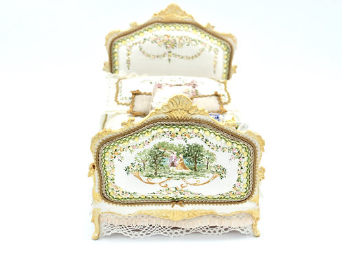 Unique Dollhouse Furniture - Miniature Bed hand painted and upholstered with sil