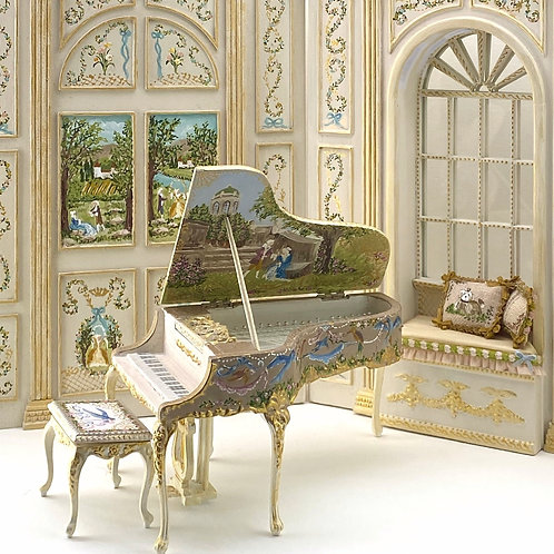 Piano and bench seat handpainted with French Inspiration 18th century.