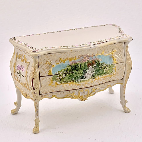 Commode with drawers hand painted in soft beige and gold tones. scale 1.12