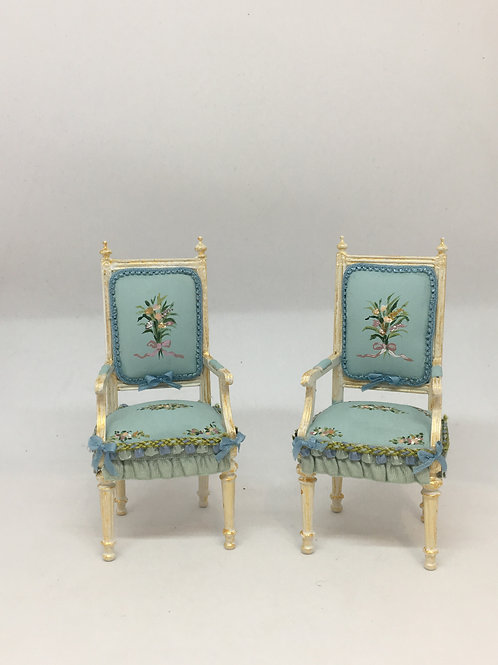 Hand painted chair in blue tones . Scale 1.12