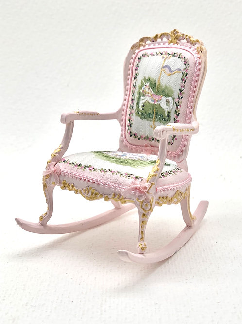 Hand painted rocking chair in soft pink scale 1.12