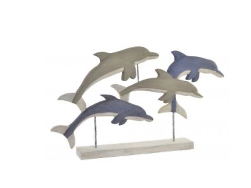 Figura delfines  en madera de mango