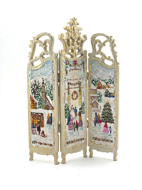 hand-painted screen with Christmas motifs