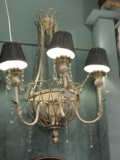 Lámpara vintage de hierro beige con pantallas gris marengo