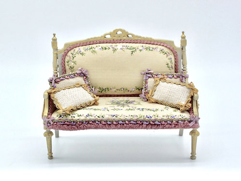 Unique Dollhouse Furniture - Double sofa upholstered in silk and hand painted Fr