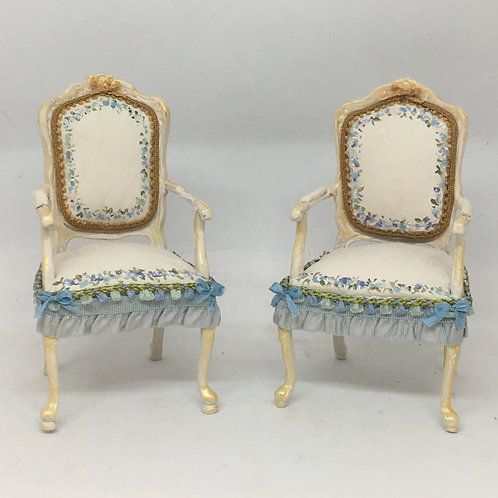 Hand painted chair in cream & blue tones.Scale 1.12
