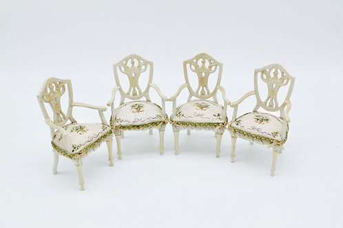 Dollhouse Furniture - Upholstered and hand-painted chair with French vintage ins