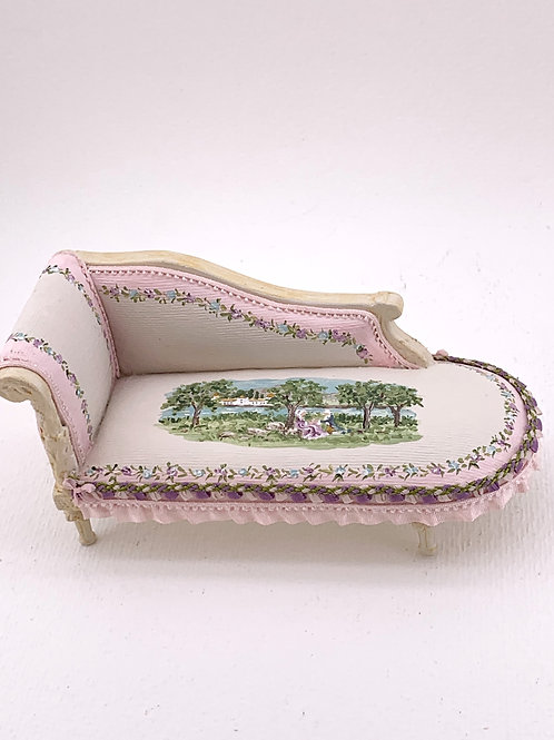 Chaise Longe upholstered in silk and hand painted. Scale: 1.12