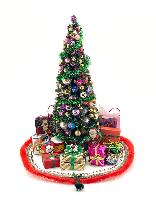 Handmade Christmas tree, hand painted carpet. It is sold as seen in the photo wi