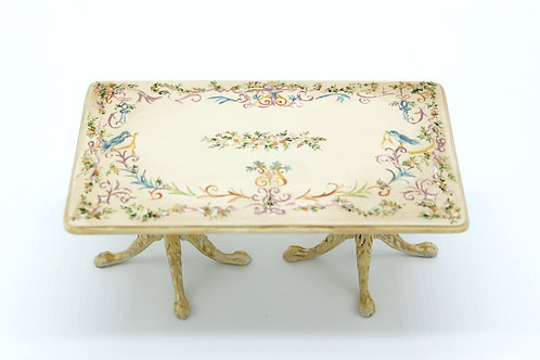 Dollhouse Furniture - Hand painted table with French inspiration Louis XVI .Scal