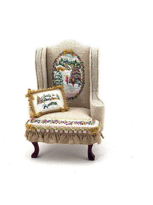 Rustic linen hand painted sofa with Christmas motifs.