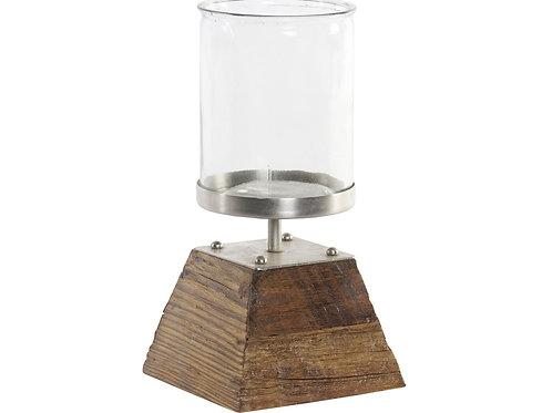 Portavela de madera y metal