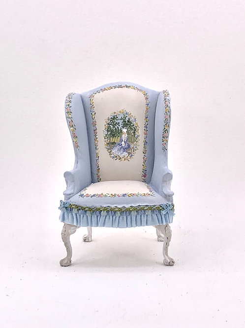 Individual wingchair sofa hand painted in Versailles blue tones. French style