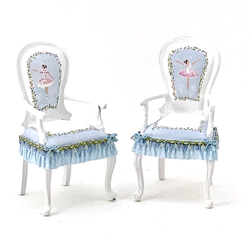 Hand painted chair in blue tones.