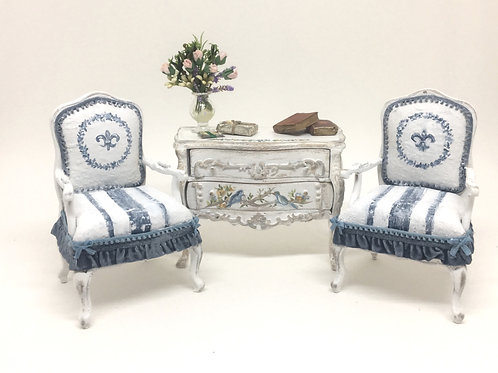 Armchair hand painted vintage style French boho chic. In worn blue denin tones.