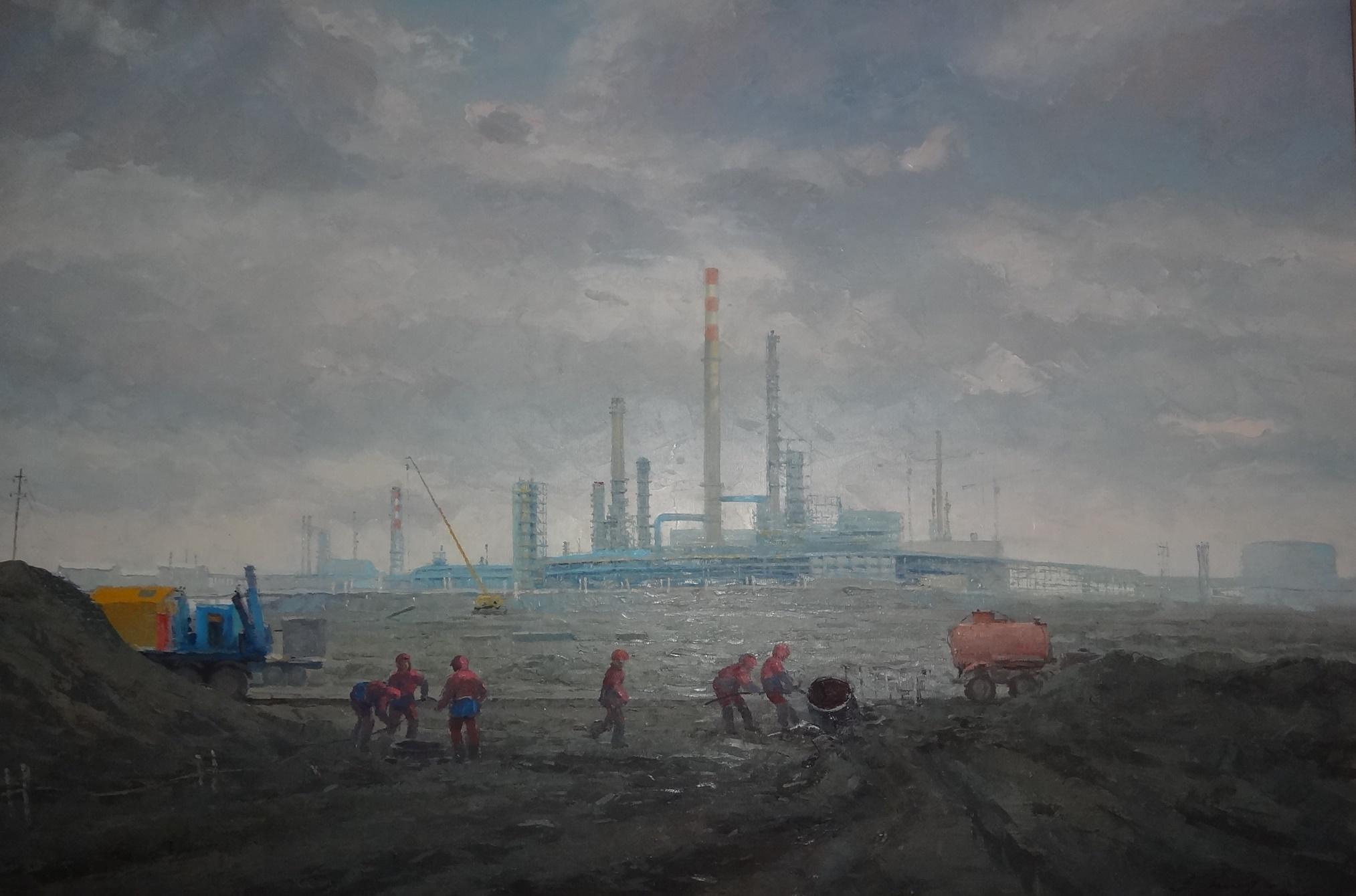 """Будни строителей"" Х.М. 80х120"