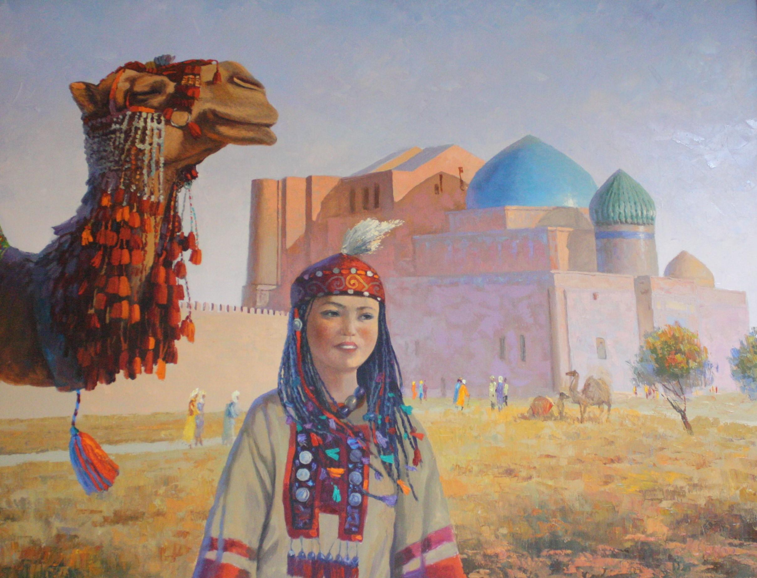 """""""Девушка с верблюдом"""" Х.М. 90х100"""
