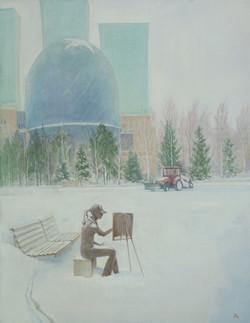 "Триптих. ""Астана.Январь.1"" Х.М.90х70"
