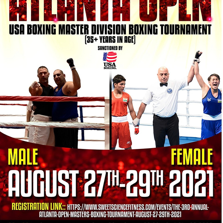 The 3rd Annual Atlanta Open Masters Boxing Tournament  August 27-29th 2021