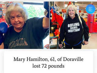 Great AJC article on Sweet Science Boxing Club Client Mary losing 72 lbs!