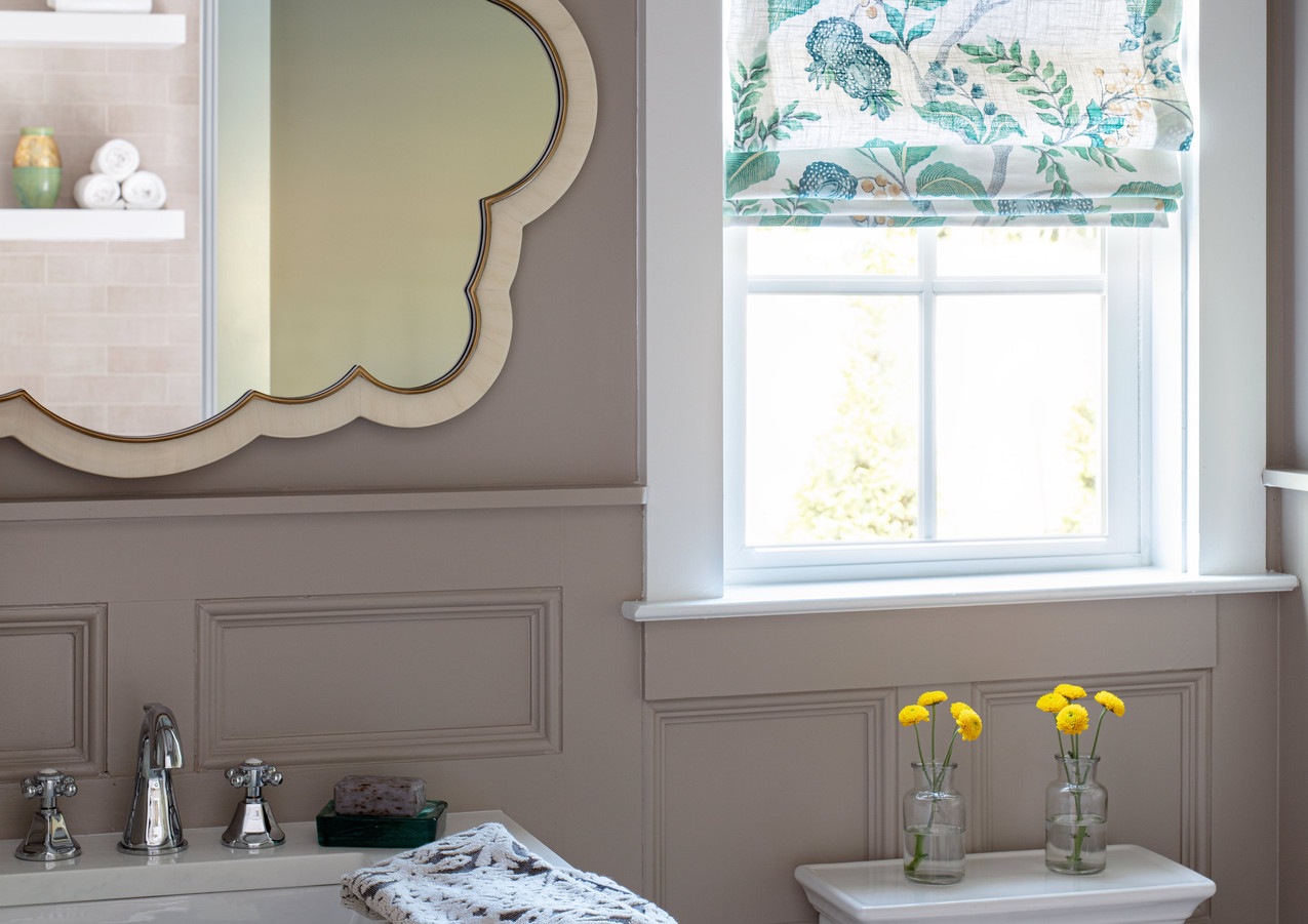 Roman shades offer unfussy moments of beauty and privacy.