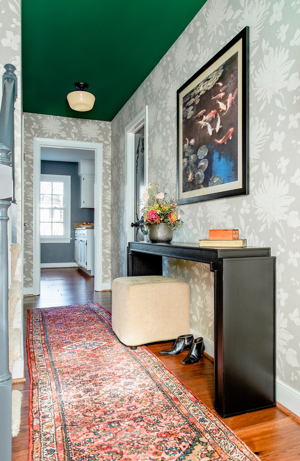 Green-Painted-ceiling-Wallpaper-Entry-Short-Ceilings