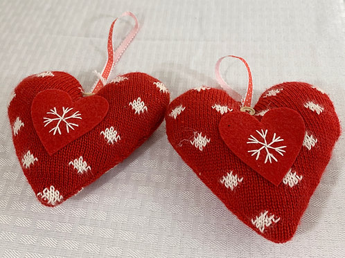 A Pair of Red Heart Ornaments