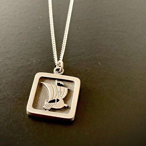 Pewter Viking Ship Necklace